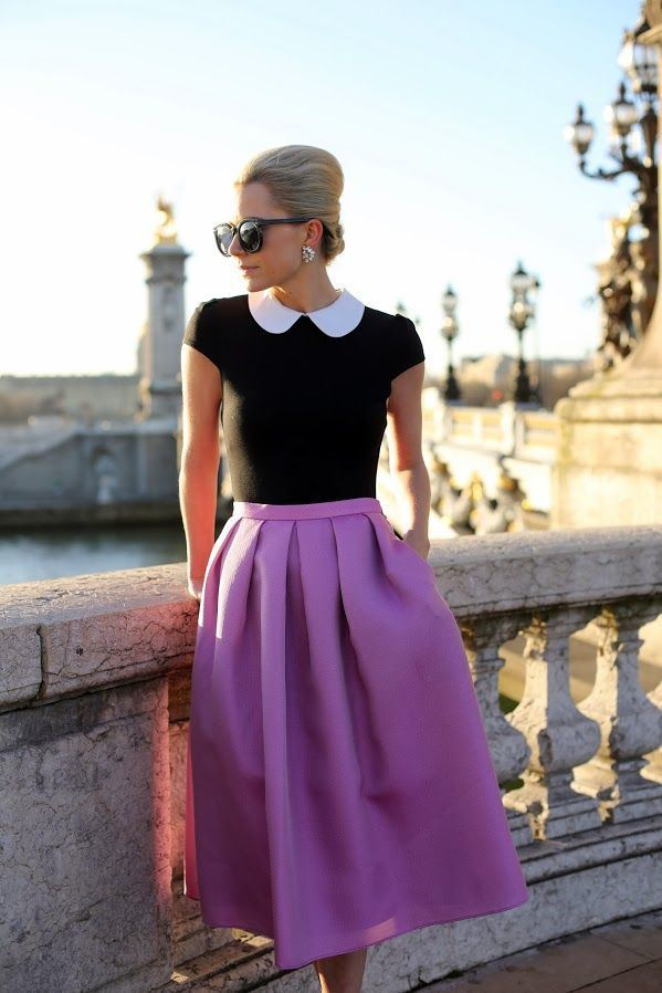 Purple-Women-Style-Fashion-with-Midi-Skirt